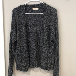 Navy and White Knit Cardigan